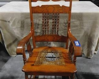 Wooden Pressback rocking chair with cane seat (seat needs replaced-see pics)