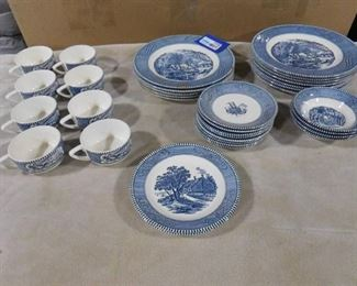 """Currier & Ives """"The Old Grist Mill"""" underglaze print by Royal dishware set- 34 piece set"""