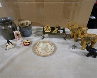 lot of animals figurines and vases