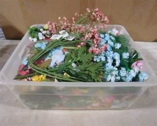 bucket of misc. fake  decorative flowers