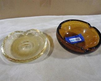 Brown air bubble glass bowl, clear resin tint air bubble glass bowl