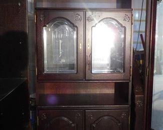 Large mirrored light- up display case with 2 storage cabinets on bottom- 79in H X 38in W X 17in D
