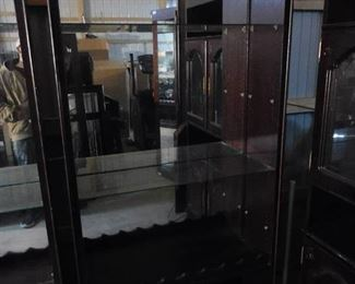 Large mirrored display case- capable of holding 4 shelves- 79in H X 38in W X 17in D