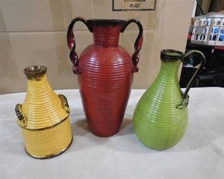 3 lightweight multi color decorative vases