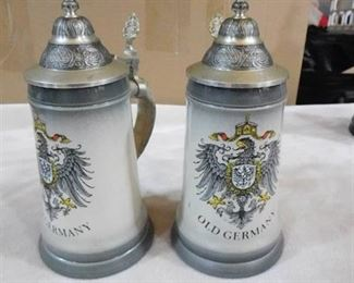 Set of 2 beer steins made in germany- Original Thewalt (chips on both on bottom-see pics)