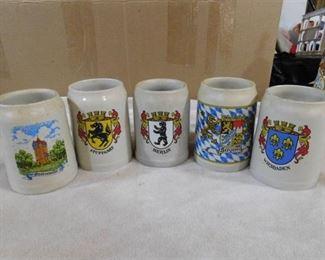 Set of 5 stein mugs, German cities