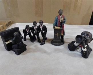 Set of 4 African American musical and religious figurines