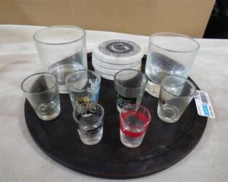 Serving tray with assorted shot glasses, 2 whiskey glasses and set of 4 coasters