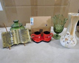 lot of assorted items including pair of me & you small coffee cups, 2 vases and glass bowl