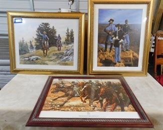 3 American Union soldiers art (brown frame: 26 1/2in H X 32 1/2in W) (Both gold frames: 32 1/2in H X 27in)