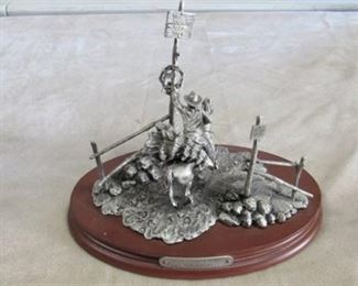 """Chilmark Pewter """"Merry Christmas Neighbor"""" statue by Polland 1991"""