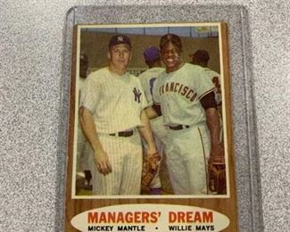 1962 Topps card #18 MANAGERS' DREAM- Willie Mays and Mickey Mantle