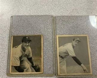 Two Cards 1948 Bowman #12 Johnny Sain RC, #14 Allie Reynolds RC