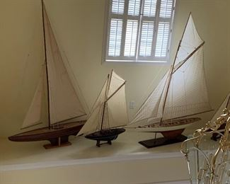 Several large sailing ship models. Some almost 6 feet high