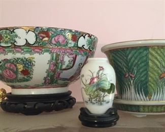 Asian bowls and vases.