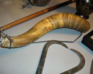 Brass horsehead topped cane, handmade powder horn, old ice tongs