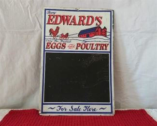 Embossed Edward's Eggs & Poultry Metal Sign