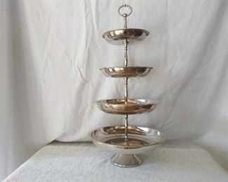 Four Tier Silver Plated Serving Stand
