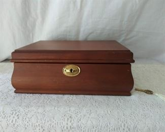 Wooden Jewelry Box w/ Key