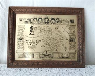 South Carolina Tin Map- Major Revolutionary Battles