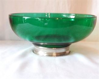 Large Green Glass Bowl w/ silver plate bottom