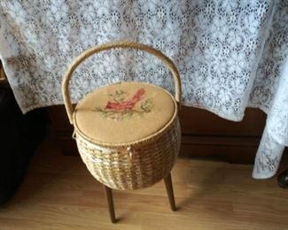 Vintage Footed Wicker Sewing Stand