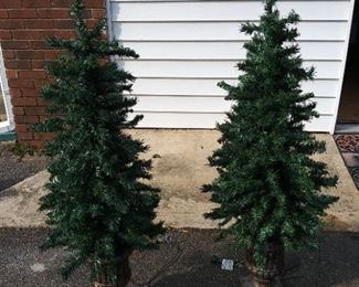 2 Lighted Holiday Trees in Ceramic Bases
