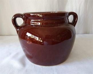Brown Glazed Bean Pot