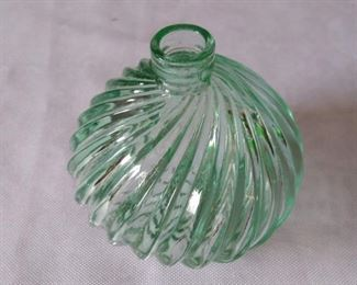 Vintage WNS Green Glass Perfume Bottle