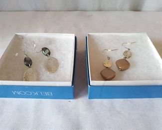 Hammered Metal & Iridescent Stone Earrings