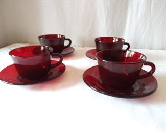 Four Vintage Ruby Glass Cups and Saucers