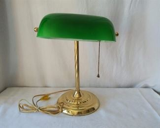 Brass Desk Lamp w/ Green Shade