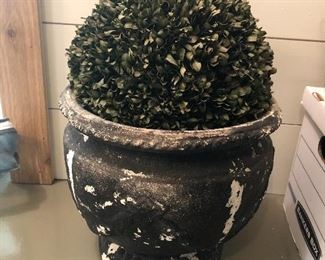 $28 / Silk topiary in lightweight, distressed planter