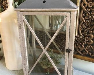 $48 / Large glass and wood cabinet perfect for holding candles or floral arrangements for the holidays.