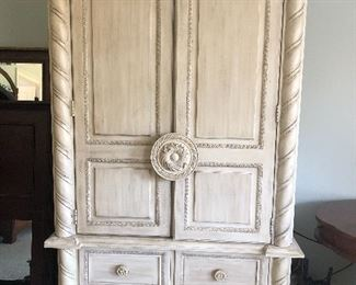 $110 / Unique whitewashed wardrobe or tv cabinet. Comes apart in two pieces.