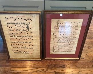 $275 both / 16th century Ink on Vellum musical sheets