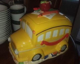 Ceramic school bus cookie jar