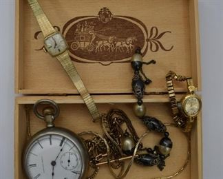 Box of jewelry featuring 1893 pocket watch