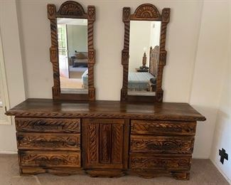 """NOW 7 PIECE SET TODAY ONLY $150.00 ALL!! c.1960 Big Sur """"Hippy Furniture """".  Carved Wood with pyro burnt finish.  Really neat and rare to find an entire suite!   Has a Monterey Furniture feel that is perfect for a California Ranch Or Spanish Revival home."""