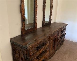 $650.00 Bedroom Suite 7 pieces.  Monterey, Spanish, Hippy Revival.  Real wood this is not Particleboard junky furniture!
