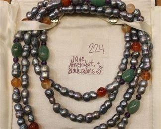 Jade, Amethyst, Black pearls