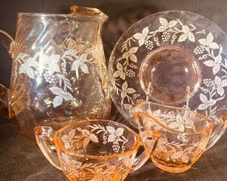 gorgeous pink Depression glass collection