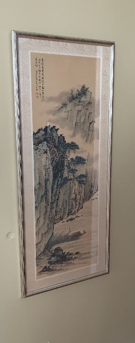Asian Water Color on Rice Paper, Framed