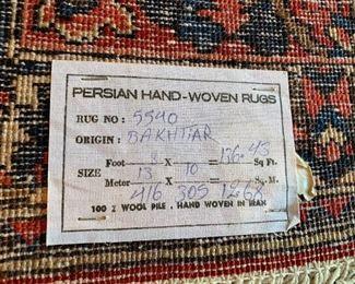 "13""x10"" Hand Woven Persian Area Rug, Bakhtiar, Iran"
