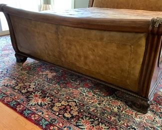 """King Bed with Leather Headboard and Footboard Approx.17'7""""x10'1"""" Hand Woven Area Rug"""