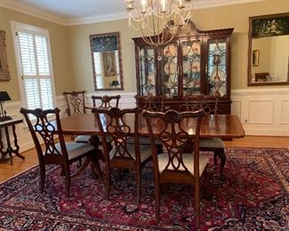 "Thomasville Illuminated China Cabinet               12'9""x9'8"" Hand Woven Persian Area Rug, Mashad, Iran."
