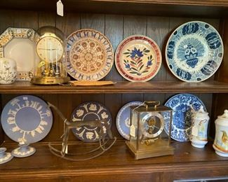 1800s plates, wedgewood, nice book shelf, french pottery