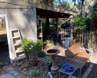 bird bath, bench and table