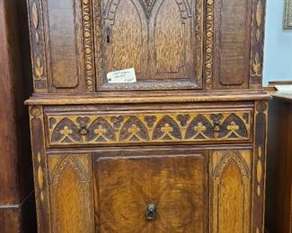 1930's Gothic Carved Oak Cabinet