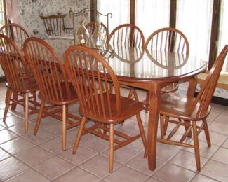 Oak dining set, seats 8
